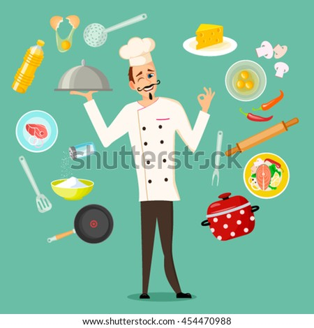 Set of kitchen utensils. Kitchenware equipment with food ingredients and Professional Chef Cook Character  in flat cartoon style - stock vector