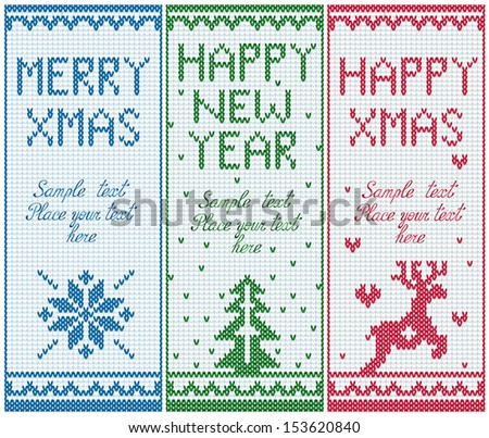 Set of knitted banners with copy space