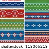 Set of knitted ornamental seamless patterns. - stock vector