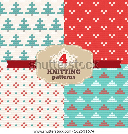 Set of knitting patterns - stock vector