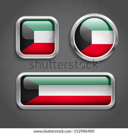 Set of Kuwait  flag glass buttons - stock vector