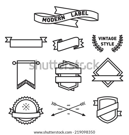 set of Label and Badge Icon Vector Design - stock vector