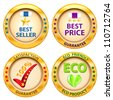 Set of label. Best price,Best seller,Satisfaction guarantee,Eco product label. Vector illustration - stock photo