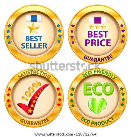 Set of label. Best price,Best seller,Satisfaction guarantee,Eco product label. Vector illustration - stock vector
