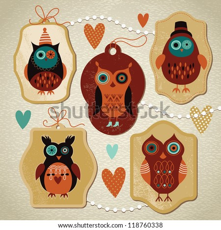 set of label with cute owls - stock vector