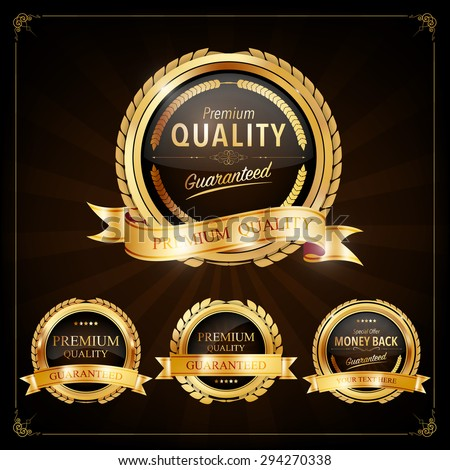Set of Label with gold elements,Vector EPS10. - stock vector