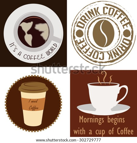 Set of labels and backgrounds with coffee elements. Vector illustration