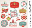 Set of labels and elements for Christmas and New Year - stock photo