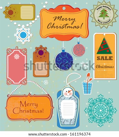 Set of labels and elements for Christmas and New Year - stock vector