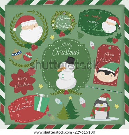 Set of labels and elements for Christmas,Christmas scrapbook - stock vector