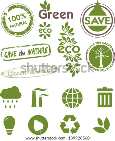 Set of labels and icons for green technology. Green world.  Ecology theme. - stock vector