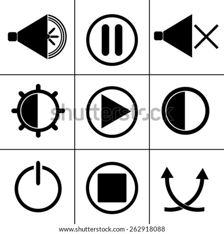 Set of labels and stickers for the buttons of the player. - stock vector
