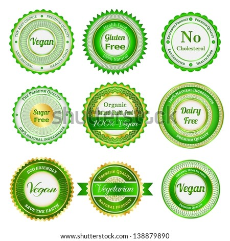 Set of labels, badges and stickers on organic and natural food - stock vector