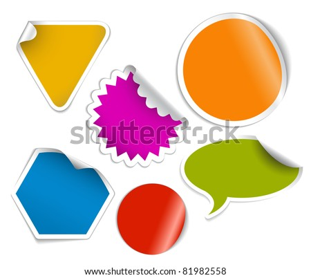 Set of labels badges and stickers with fresh  colors - stock vector