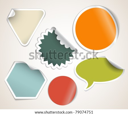 Set of labels badges and stickers with retro colors - stock vector