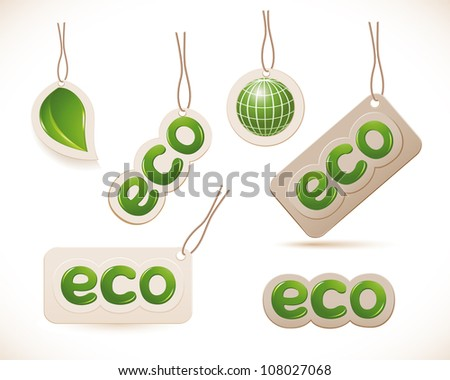Set of labels eco sign