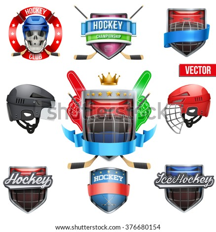 Set of Labels for ice hockey sports. Bright premium quality design. Editable Vector Illustration. Hockey symbol, hockey mascot, hockey icon, hockey label, hockey club, hockey winner, hockey game - stock vector