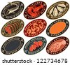 set of labels for seafood - stock vector
