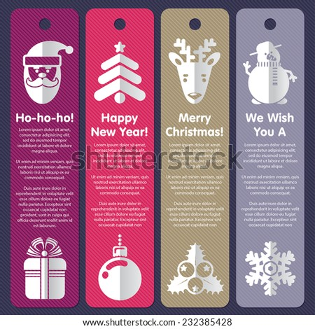 Set of labels, greeting cards or banners for Xmas and New Year  - stock vector