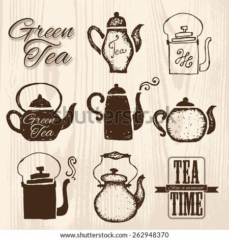 Set of labels on theme tea. Tea logo. - stock vector
