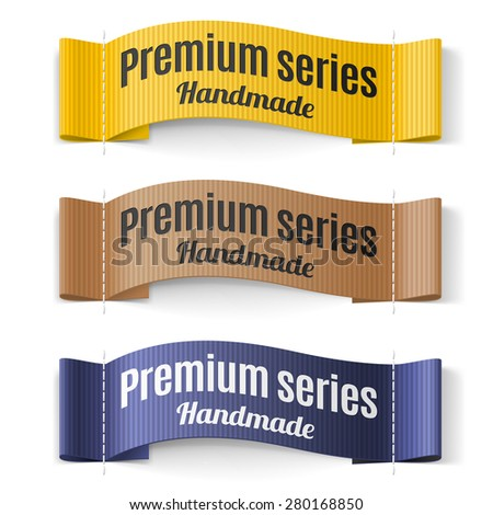 Set of Labels Premium series hand made yellow brown  purple - stock vector