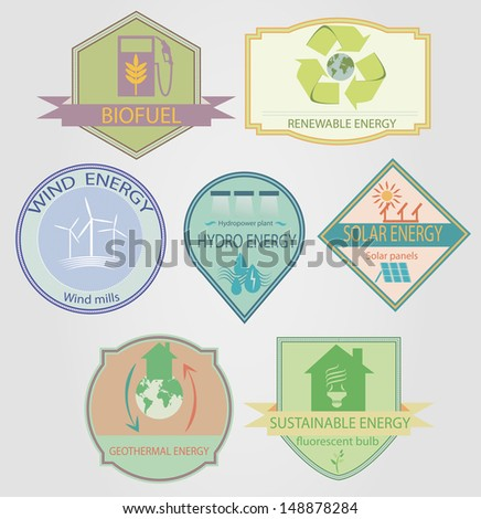 set of labels relating to ecology theme, including wind power, geothermal, renewable, solar, hydro energy - stock vector