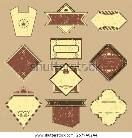 Set of labels. Retro Design. Grunge background. Original style       - stock vector