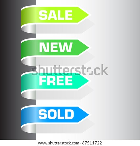 set of labels - sale, new, free, sold