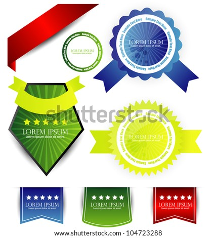 set of labels seal stamps - stock vector