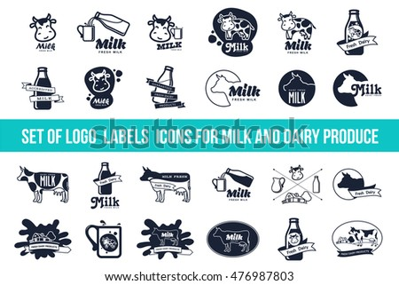 Set Labels Sticker Icons Symbol Milk Stock Vector 476987803
