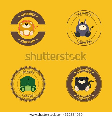 Set of labels with different cute animals - stock vector
