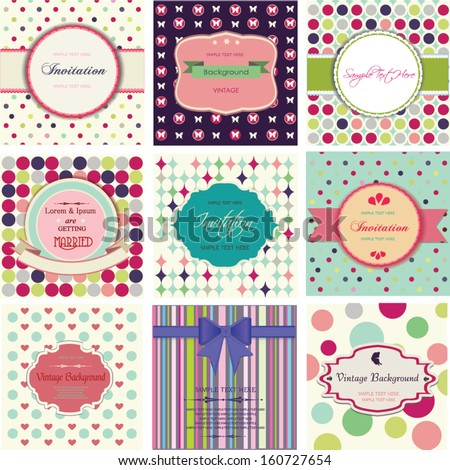 set of labels with different patterns - stock vector