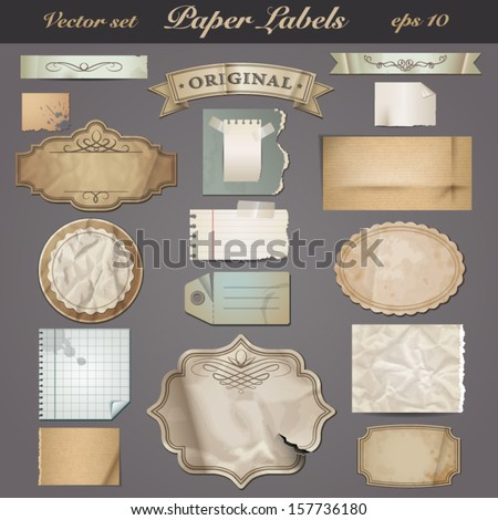 set of labels with different textures of old paper - stock vector