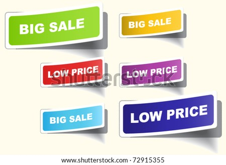Set of labels with holes in the area of a separation - stock vector