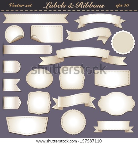 set of labels with light-colored stitching without text - stock vector