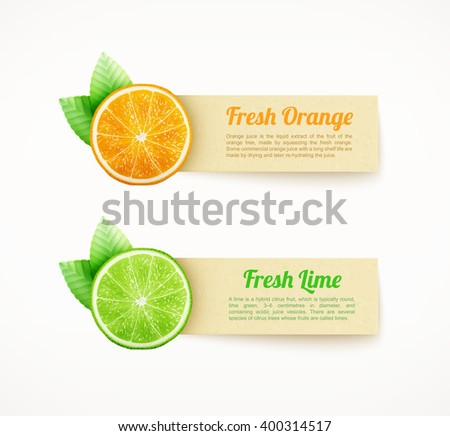 Set of labels with orange and lime eps10 vector illustration