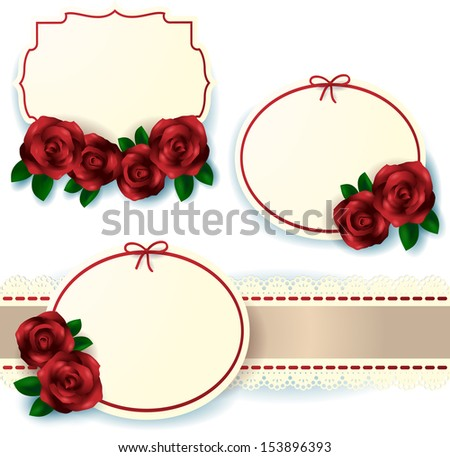 Set of labels with roses