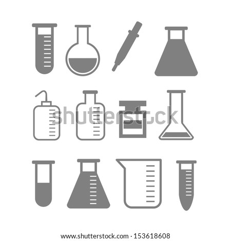 set of laboratory equipment - stock vector