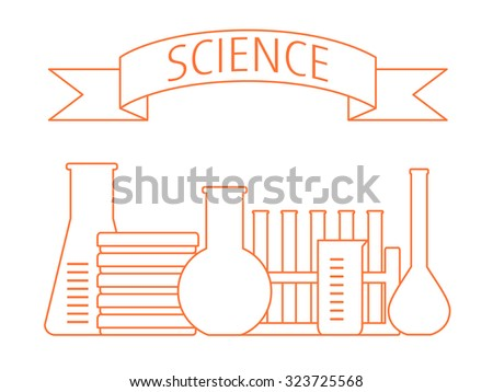 set of laboratory glass and a text banner SCIENCE above - stock vector