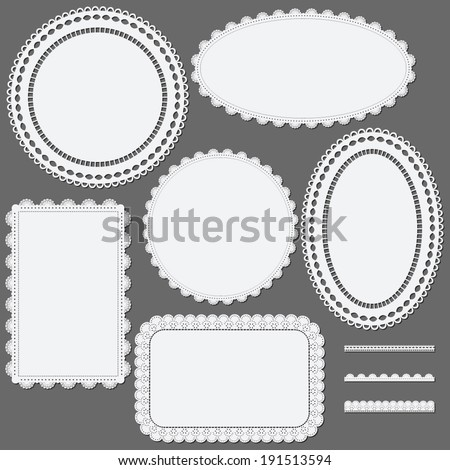 Set of lace frames napkins and ribbons. Vector illustration. - stock vector