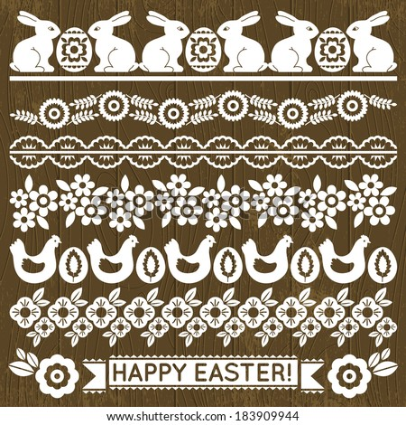 Set of Lace Paper with flowers and easter eggs, vector illustration - stock vector