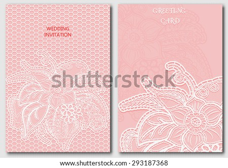 Set of lace template for design invitations and greeting cards. Openwork elegant cloth on pink background. Vector illustration. - stock vector