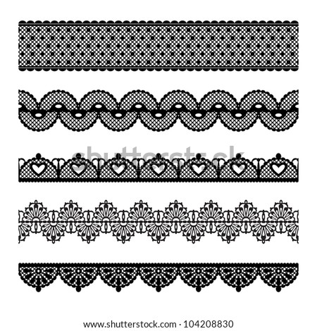 Set of lace trims isolated on white background. Elements can also be used as Illustrator brushes. EPS 8 vector.