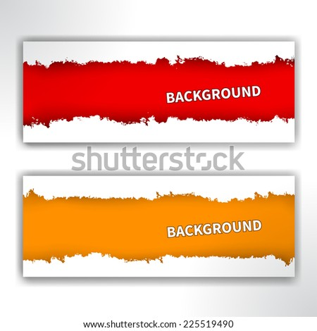 Set of lacerated papers, vector illustration. Banner with uneven edges. Object isolated on white background - stock vector
