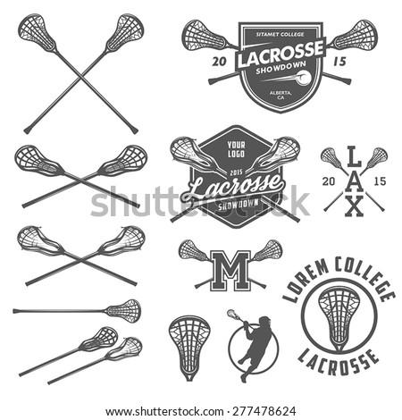 Set of lacrosse design elements - stock vector