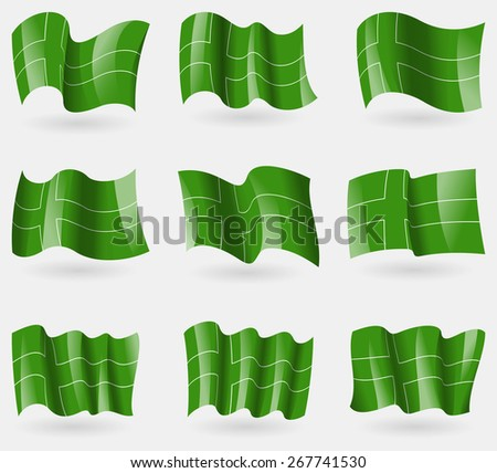 Set of Ladonia flags in the air. Vector illustration