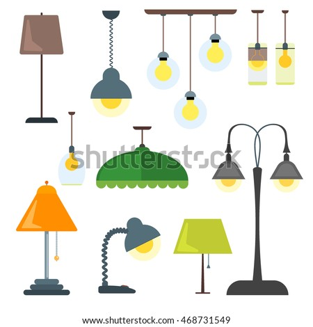 Set lamps furniture floor lamps table vectores en stock 468731549 set of lamps furniture and floor lamps and table lamps vector illustration lamp light aloadofball Gallery