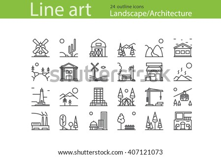 Set of Landscape, Architecture outline icons. Stock vector.