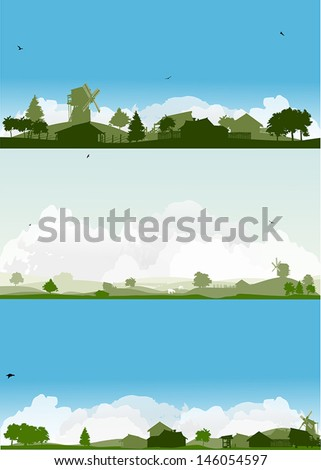 set of landscapes with trees and village