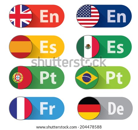 Set of 8 Language buttons, flat style. CMYK Ai10 EPS. - stock vector